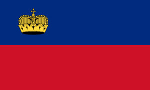 Liechtensteins flagga (Wikimedia Commons)