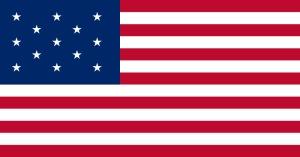 Den första officiella amerikanska flaggan (Wikimedia Commons)