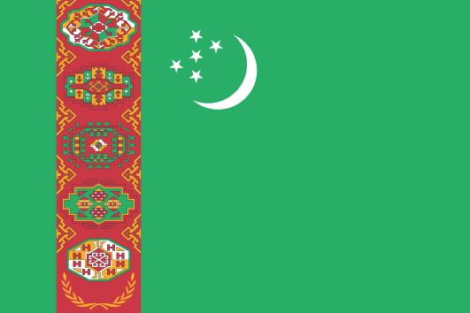 Turkmenistans flagga (Wikimedia Commons)