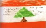 Teckning på Libanons flagga med grönt trädi mitten.
