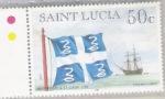 St Lucias flagga på 1700-talet (Foto: Flagstamps)