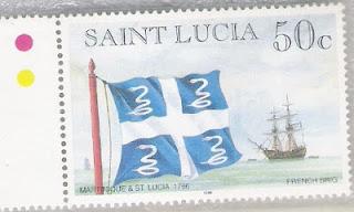 Frimärke med blå flagga med vitt kors och vita ormar i varje blått fält