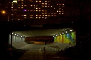 Tunneln under frösundaleden med Hagalund i bakgrunden (Foto: Mikael Westerlund)