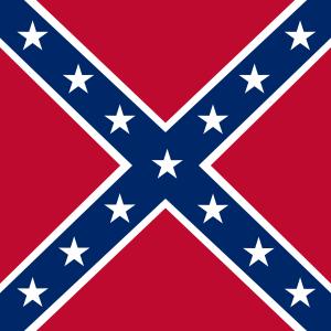 Flagga med röd bakgrund, blått kors från hörnen med vit kant och vita stjärnor i korset.