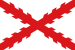 Vit flagga med rött, hackigt kors från flaggans hörn