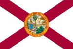 Vit flagga med rött kors från flaggans hörn och ett runt märke i mitten