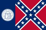 Flagga med blå bakgrund och vitt märke på vänster sida och sydstatdlaggan på höger sida