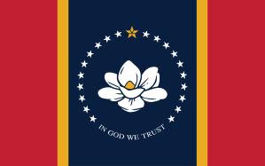 Röd, gul, blå flagga med en vit magnoliablomma i mitten