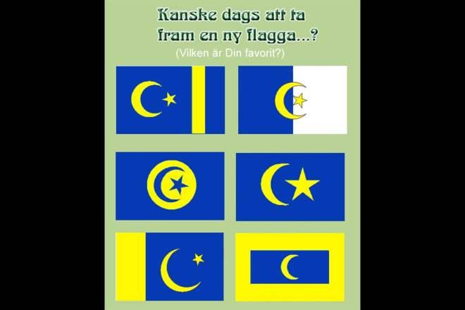 Muslimska staters flaggor i gul och blå tappning