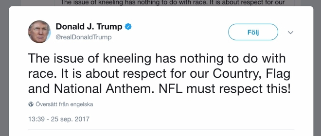 Trumps tweet om #TakeAKnee