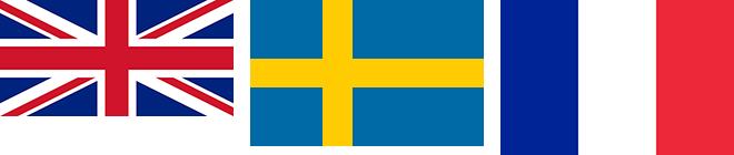Storbritanniens, Sveriges och Frankrikes flaggor bredvid varandra