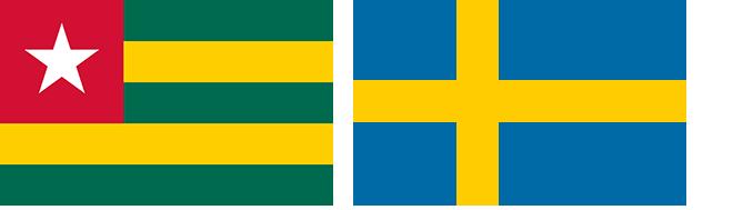 Togos och Sveriges flaggor bredvid varandra